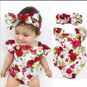Other - Baby girl  cute floral outfit romper jumpsuit set